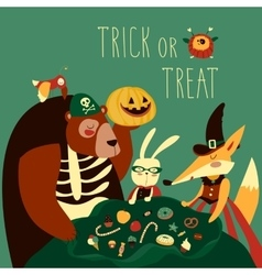 Animals in Halloween costume vector image vector image