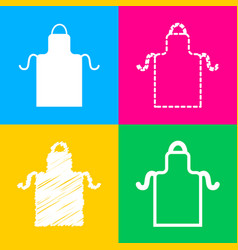 Apron simple sign four styles of icon on four vector