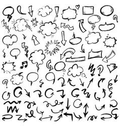 black hand drawn arrows and speech bubbles set vector image vector image