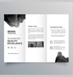Black paint trifold brochure design template vector