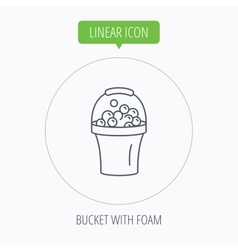 Bucket with foam icon soapy cleaning sign vector