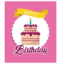 Cake happy birthday design vector