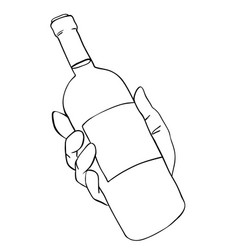 Cartoon image of hand holding bottle of wine vector