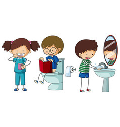 children doing different routine in bathroom vector image vector image