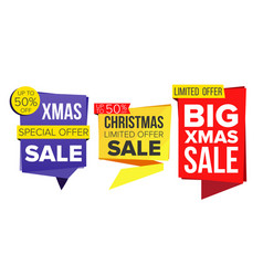 christmas sale banner set december sale vector image vector image
