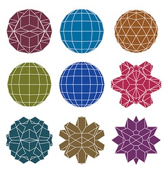 Collection of 9 single color complex dimensional vector image