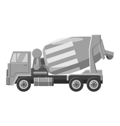 Concrete mixer truck icon gray monochrome style vector