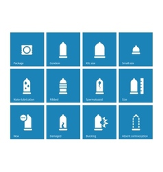 Condom and contraception icons on blue background vector