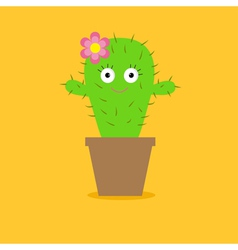 Cute cartoon cactus with eyes and flower in pot vector