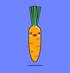 cute vegetable cartoon character carrot icon vector image