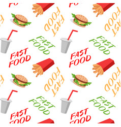 Fast food seamless pattern with sandwiches french vector