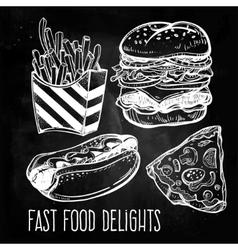 Fast food set vintage linear style vector image
