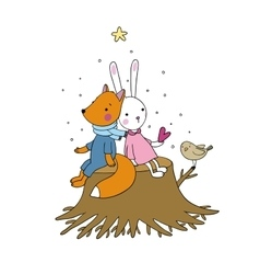 Fox rabbit and bird sitting on a tree stump vector