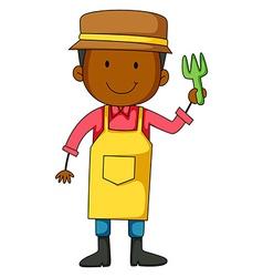 Gardener holding planting fork vector