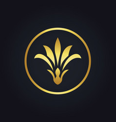 Gold beauty flower woman abstract logo vector
