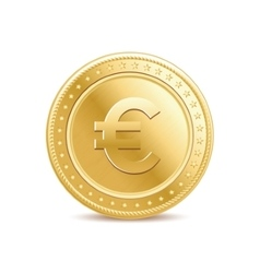 Golden isolated euro coin on the white background vector