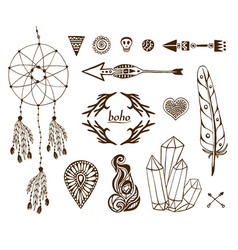 Hand-drawn boho collection with arrows crystal vector