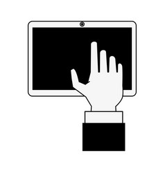 Hand with tablet icon image vector
