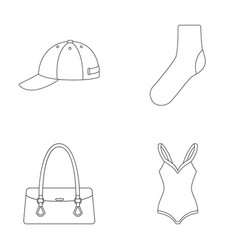 Hat sock bag swimsuit and other clothes vector