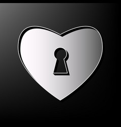 Heart with lock sign gray 3d printed icon vector