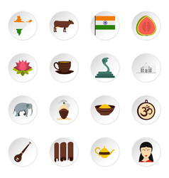 India travel icons set in flat style vector