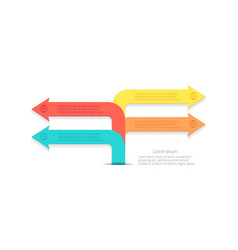 infographic bent arrows pointing directions vector image vector image