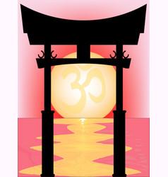 Japanese tori gate sunset vector