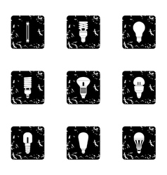 Lighting icons set grunge style vector image