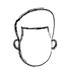 Man cartoon hair faceless portrait sketch vector