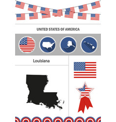 map of louisiana set of flat design icons vector image vector image