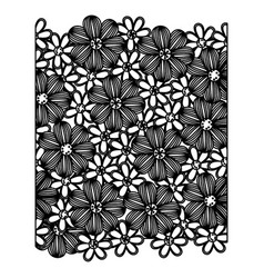 monochrome pattern with contour flowers set vector image