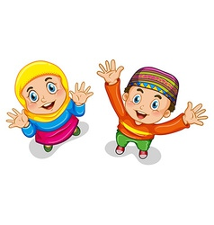Muslim boy and girl vector image vector image