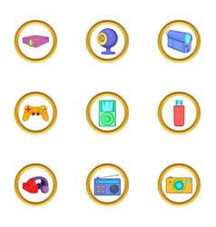 Portable gadget icons set cartoon style vector