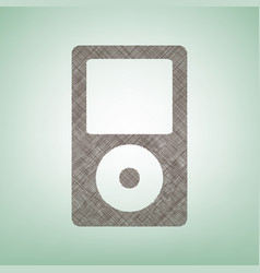 Portable music device brown flax icon on vector