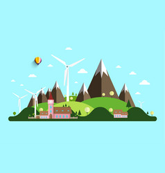 rural landscape with windmills hills and castle vector image vector image