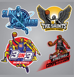 set of basketball badge collection vector image