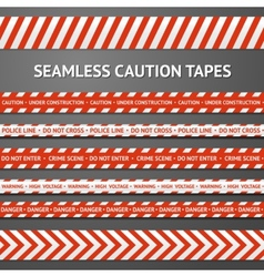 Set of red and white seamless caution tapes with vector image