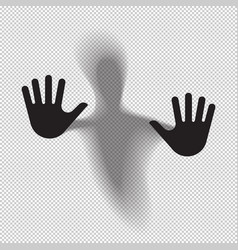 Shadowy figure behind glass translucent isolated vector