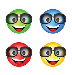 smiley with sunglasses in different color vector image