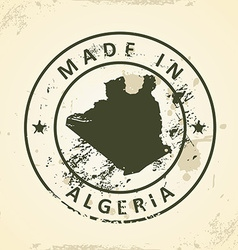 Stamp with map of Algeria vector image vector image