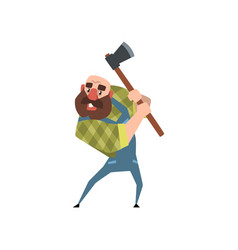 Strong bearded woodcutter working with axe funny vector