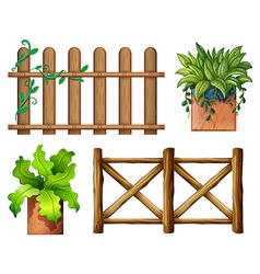 Wooden fence and potted plants vector image vector image
