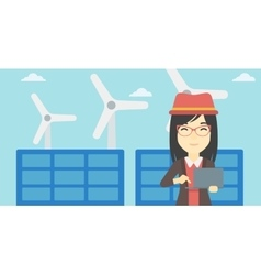 Woman checking solar panels and wind turbines vector