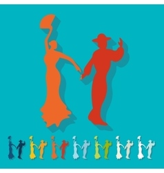 Flat design flamenco dancers vector