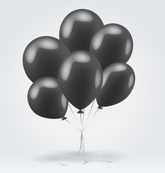 Bunch of black glossy inflatable balloons vector image