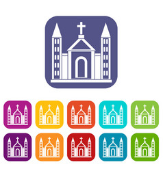 Christian catholic church building icons set vector