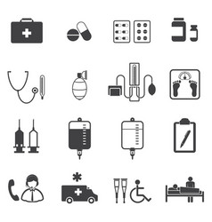 Medical and er hospital icons set vector