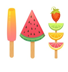 Delicious realistic ice-cream set vector