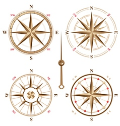 4 vintage compasses vector image vector image