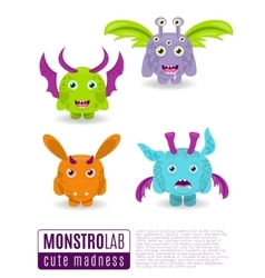 Monsters set cute cartoon monsters vector